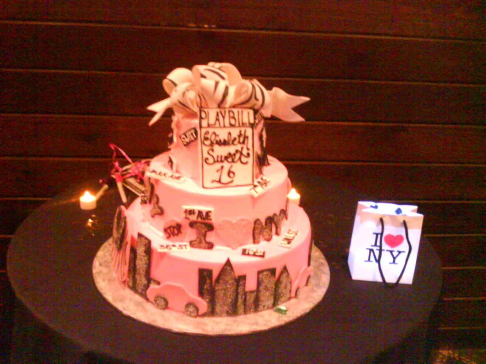 Pink City Skyline Tiered Cake