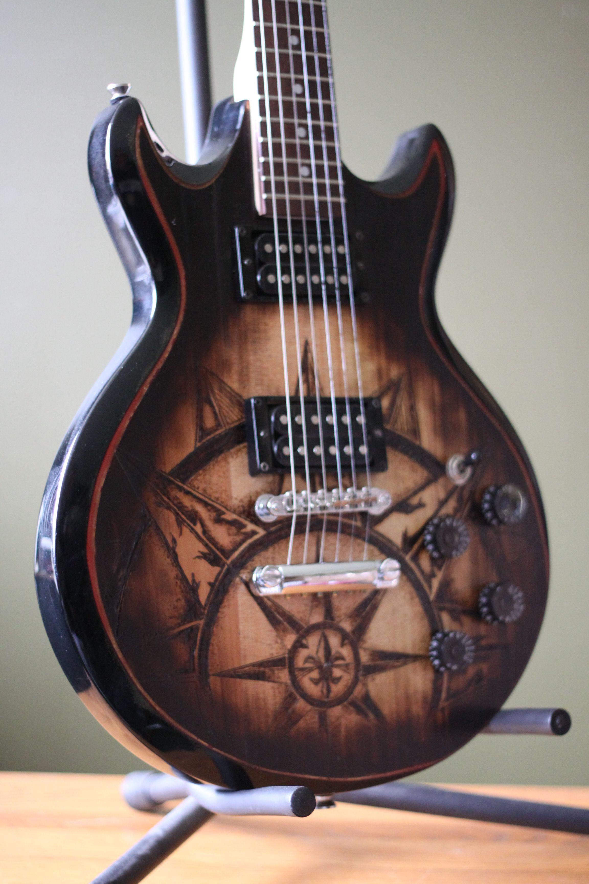 Tilted Side Ibanez Custom Wood Burn Guitar On Pinterest Steampunk Fender Telecaster And Epiphone Painting Art Cool