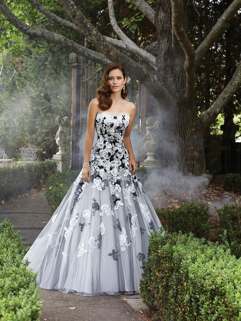Mz black and white appliqued strapless ball gown wedding dresses