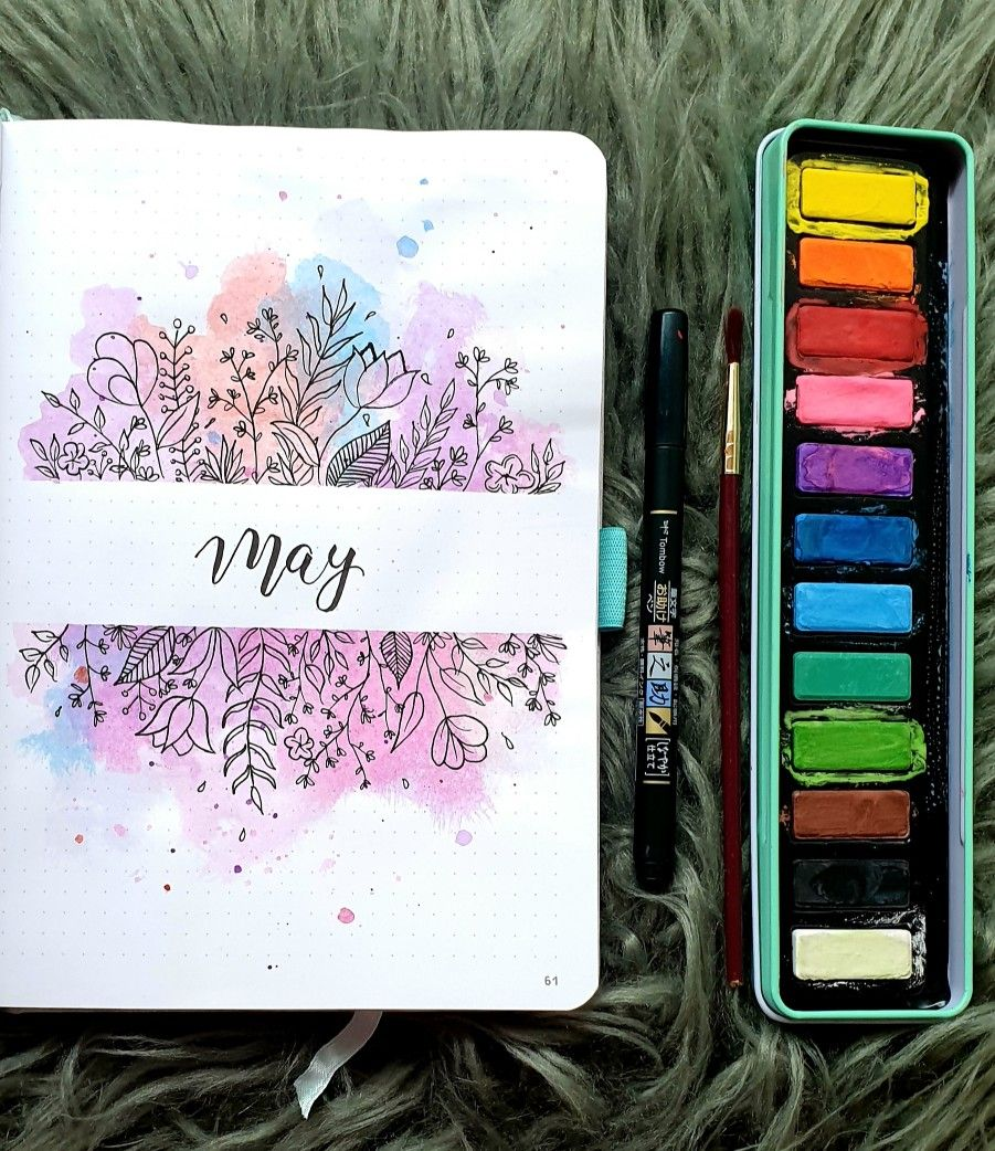 May bullet journal cover page monthly 2019 Bujo spring and summer holi inspired ...