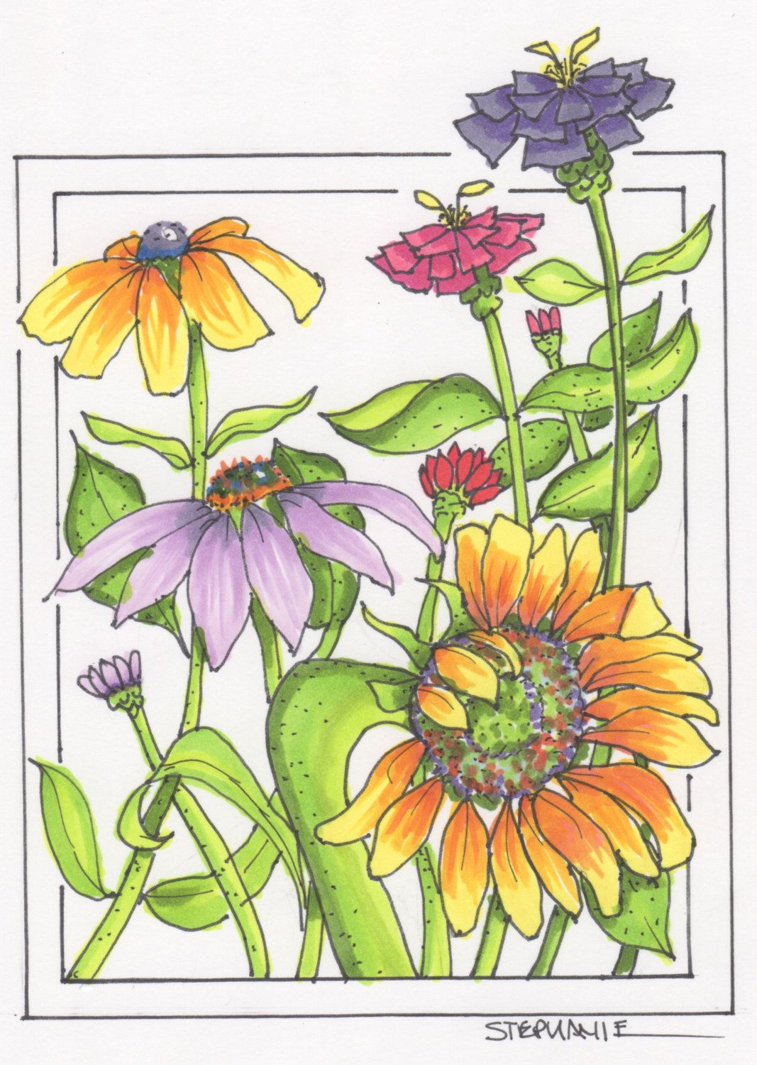 Copic coloring sunflower and purple cone flower part art print by