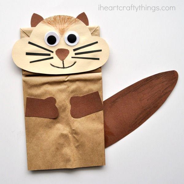 paper bag squirrel puppet
