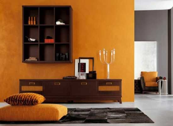 22 modern interior design ideas blending brown and orange colors into beautiful rooms bedroom - Brown and orange living room ...