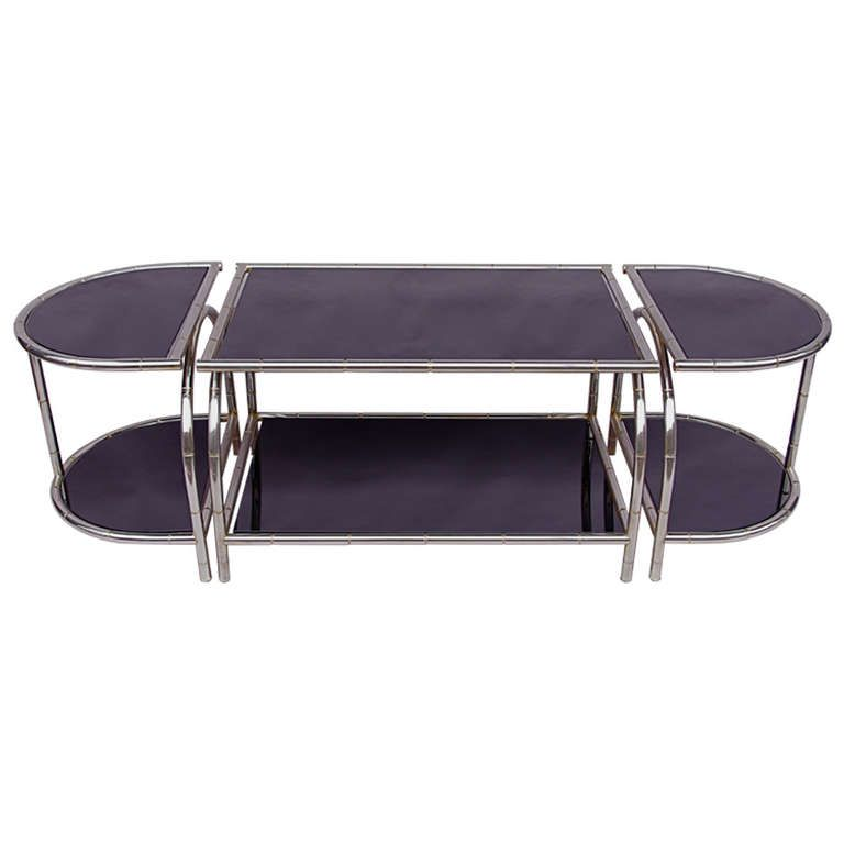 Large Stainless Steel Coffee Table In Three Parts 1stdibs Com
