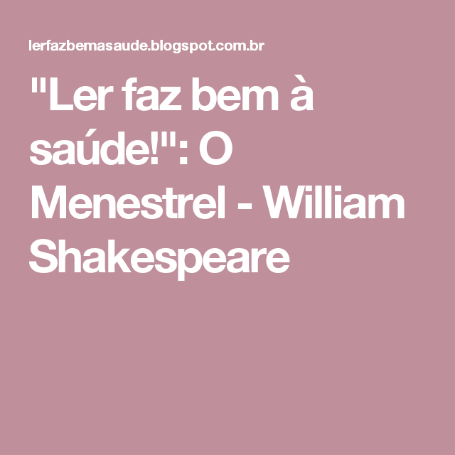 BAIXAR VIDEO SHAKESPEARE MENESTREL O WILLIAM