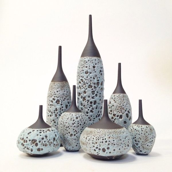 MADE TO ORDER- 7 tall stoneware bottle vases in ice blue volcanic... (€790) ❤ liked on Polyvore featuring home, home decor, vases, glazed vase, clay vase, mid century modern vase, mid century modern home decor and mid century vase