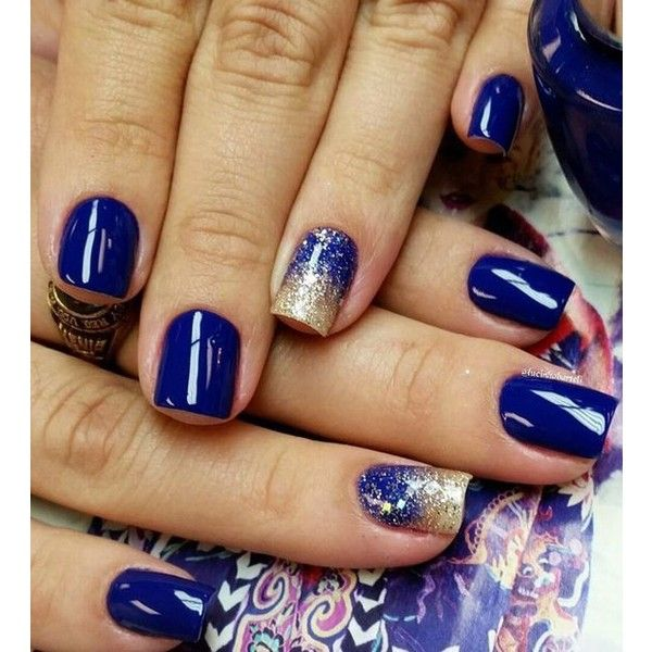 50 Blue Nail Art Designs ❤ liked on Polyvore featuring nails
