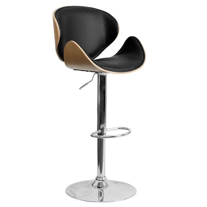 Flash Furniture Curved Adjustable Height Swivel Bar Stool Amp