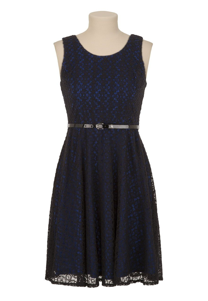 Maurices belted lace tank dress outfit
