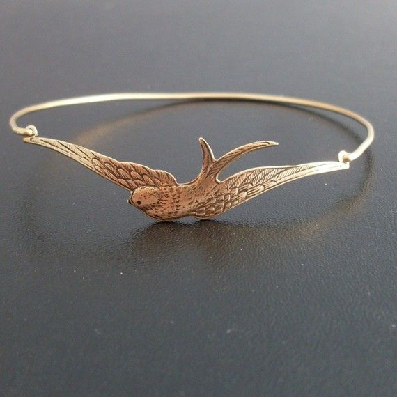 Photo of Swallow Bracelet Swallow Jewelry Bird Watcher Gift for Bird Lover Gift for Nature Lover Ornithology Gift Frosted Willow Swallow Bangle