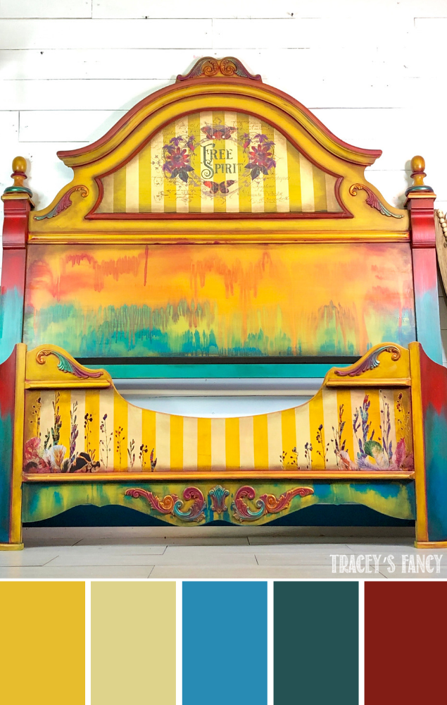 Yellow Boho Gypsy Bed  a grunge glam look is part of Painted headboard, Yellow paint colors, Chalk paint colors, Bohemian paint colors, Yellow painting, Chalk paint furniture - This Yellow Boho Gypsy bed by Tracey's Fancy is layered with so much color and goodness and finished with the a combination of stunning design transfers