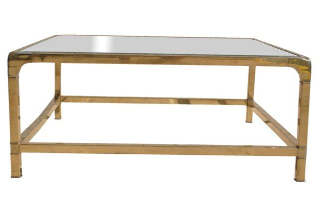 This would work - much more reasonable price, too.  Brass Coffee Table by Mastercraft