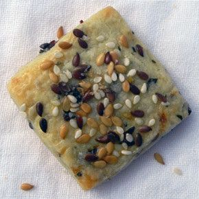 a savory sweet shortbread cookie with fresh chopped rosemary, dried sweet figs…
