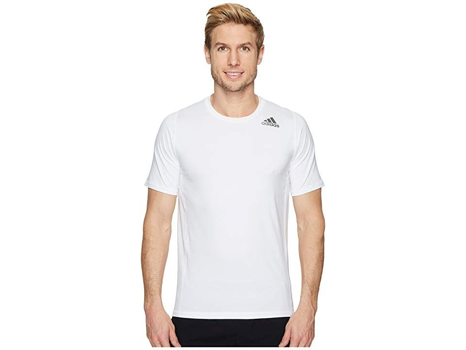 5053b0bf0 adidas Alphaskin Sport Fitted Short Sleeve Tee (White) Men's T Shirt.  There's comfort