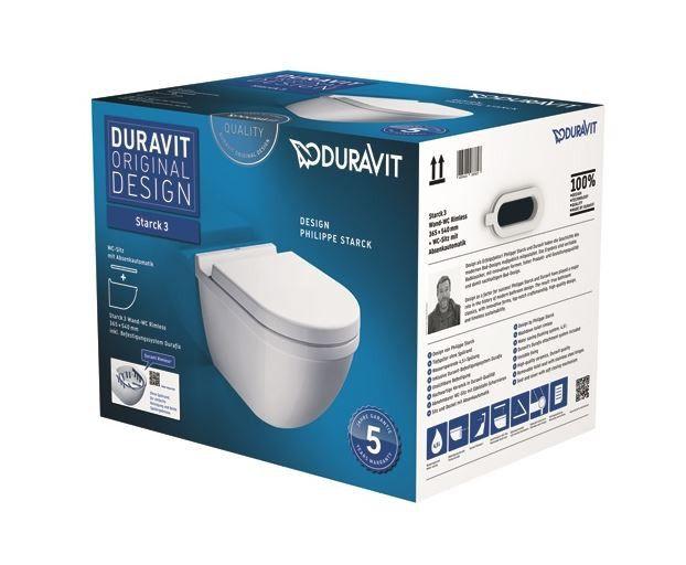 Duravit Starck 3 - wall WC pan rimless Set with Soft Close