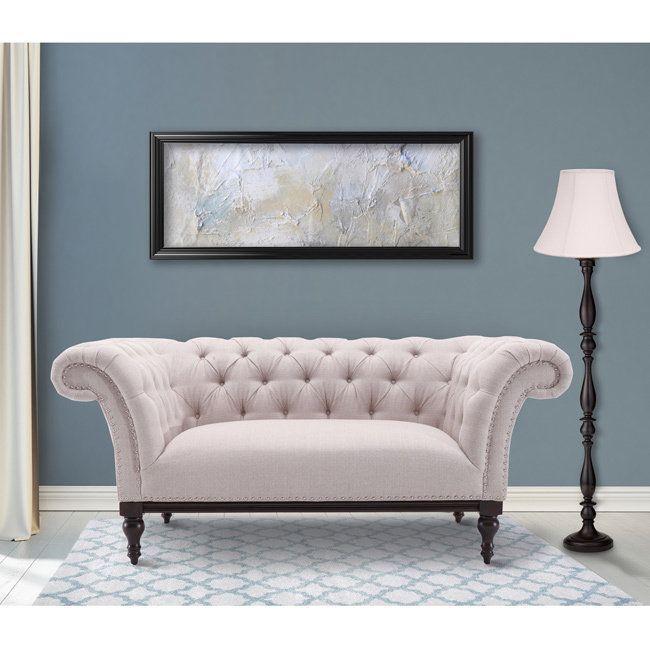 Astonishing Armen Living Avery Loveseat In Sand Fabric With Dark Brown Inzonedesignstudio Interior Chair Design Inzonedesignstudiocom