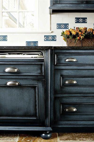 meuble cuisine peint bleu   Furniture   Pinterest   Meuble cuisine ...