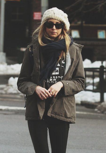 black t - black scarf - beanie - cargo jacket