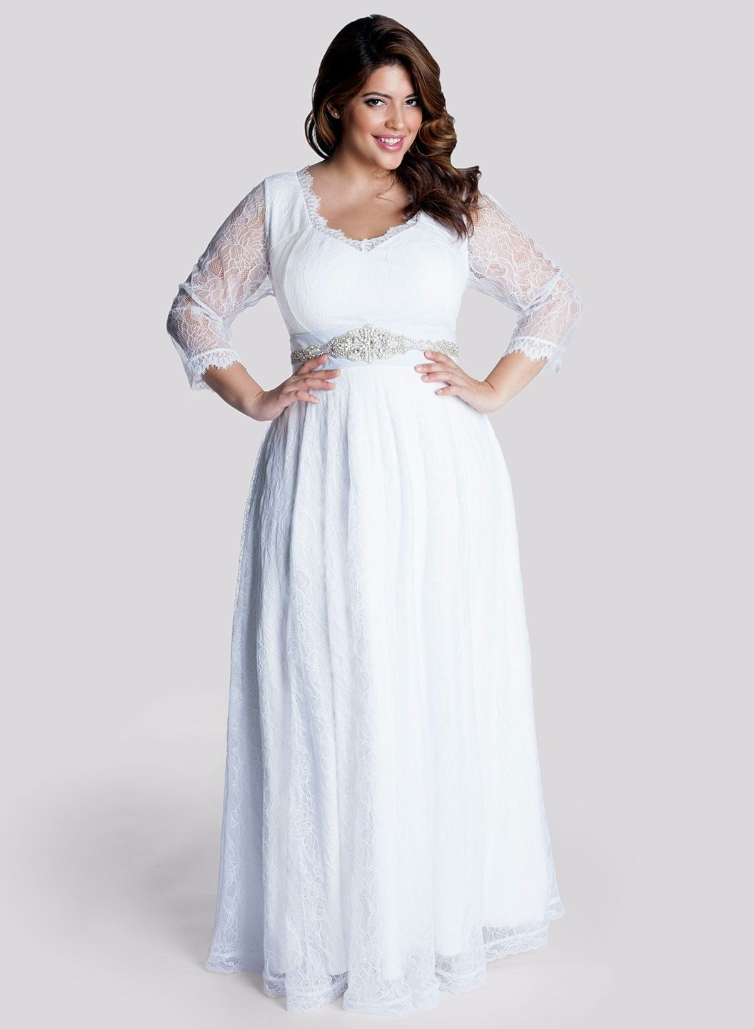 plus size casual wedding dresses with sleeves