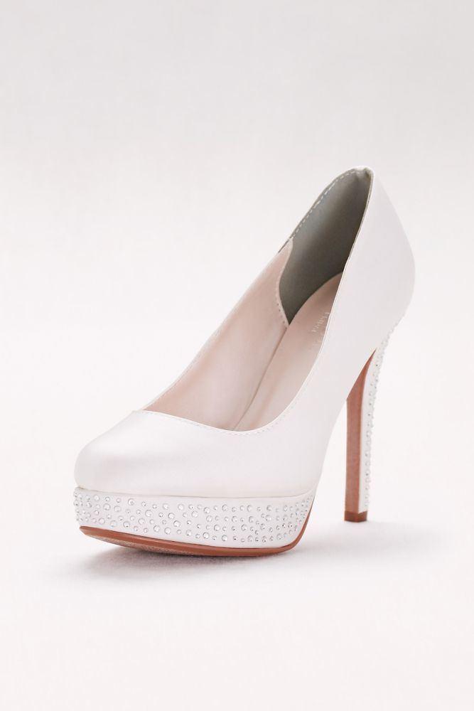Round-Toe Satin Pumps with Crystal Platform - Soft White 3f7cab520bd4