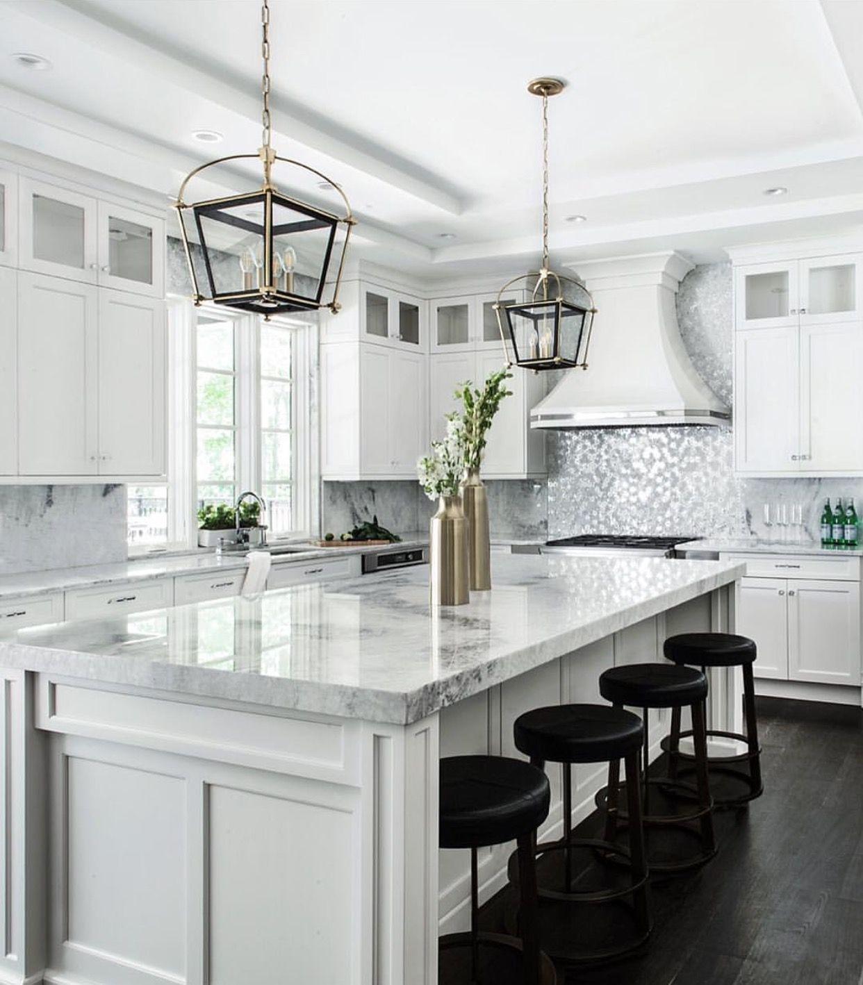 Black Bar Stools With All White Kitchen White Kitchen Design Kitchen Cabinets Decor Kitchen Inspirations