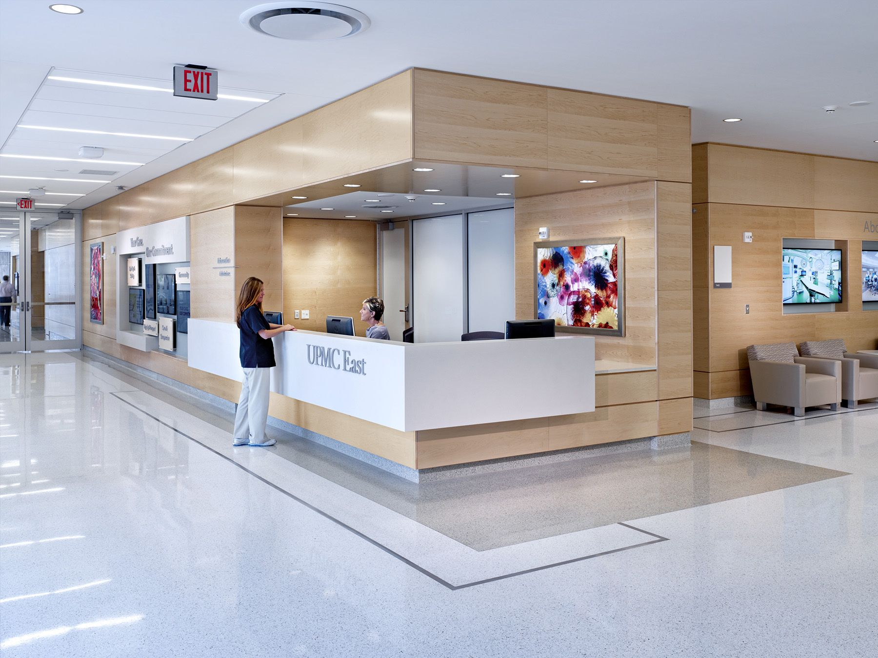 New Hospital And Parking Garage Monroeville Pa The Upmc East Hospital Rests On A Greyfiled Hospital Interior Design Healthcare Interior Design Hospital Design
