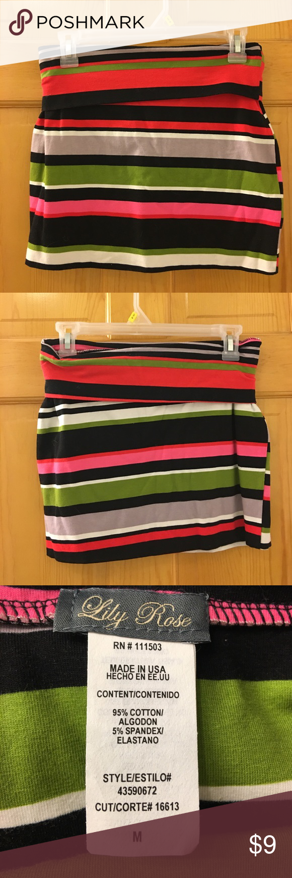 Striped skirt Women's size medium striped skirt. Worn one, no damage. Very comfortable-feels like yoga pants in skirt form! Fold over waist band. Clean, smoke free home. Always willing to negotiate prices! Lily Rose Skirts Mini