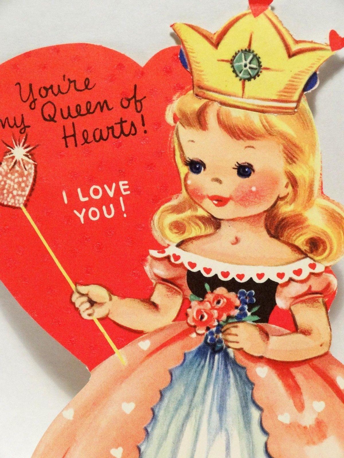 J387 50s Lovely Queen of Hearts-Vintage Diecut Valentine ...