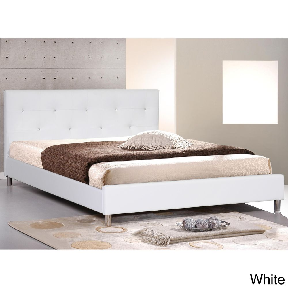 Barbara White Modern Full-size Bed with Crystal Button Tufting $282 ...