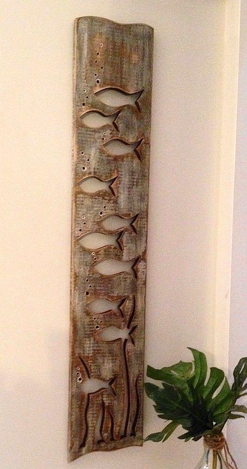 Fish Art Panel Sign Wall Decor Vertical Driftwood by CastawaysHall