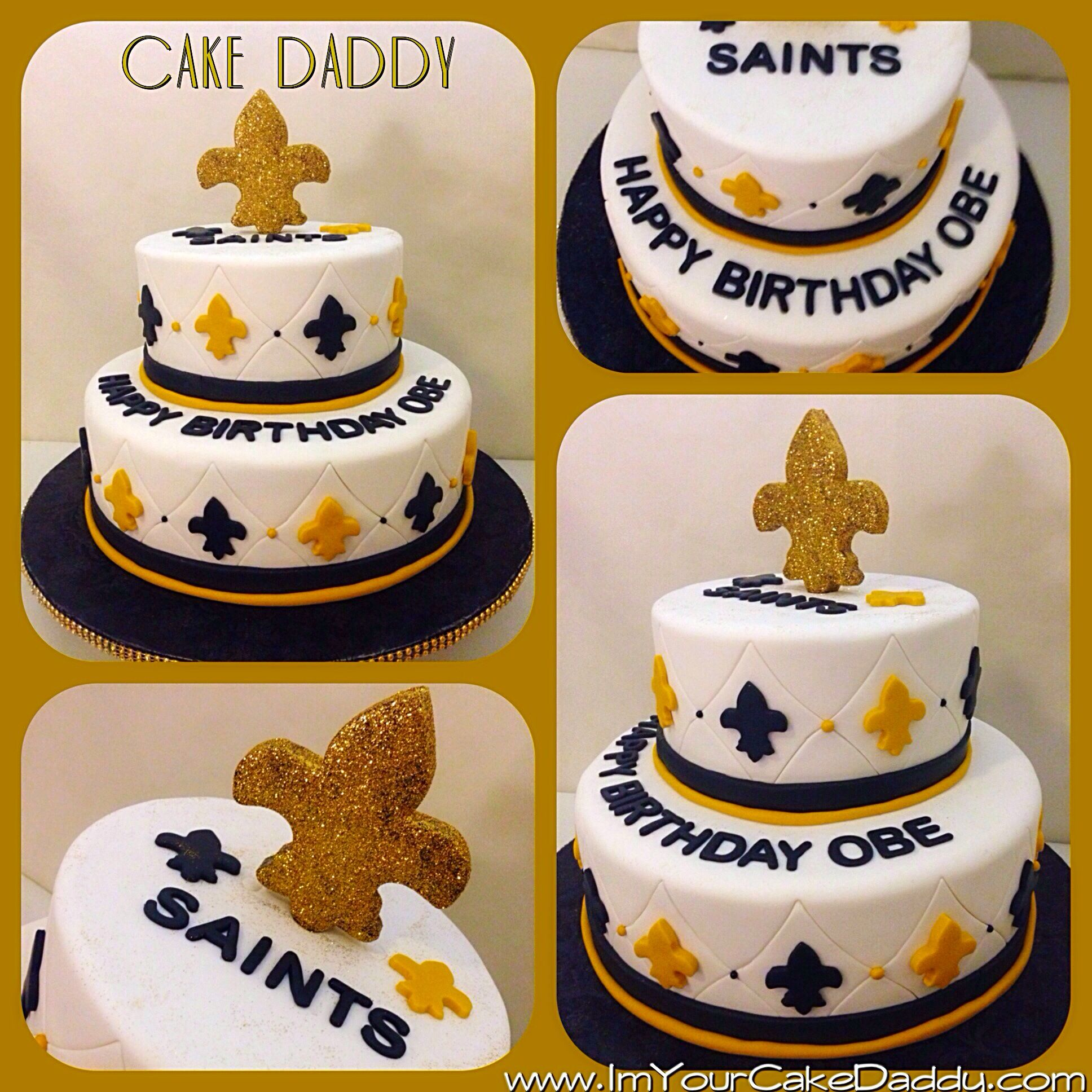 New Orleans Saints themed birthday cake Custom Cakes by Cake
