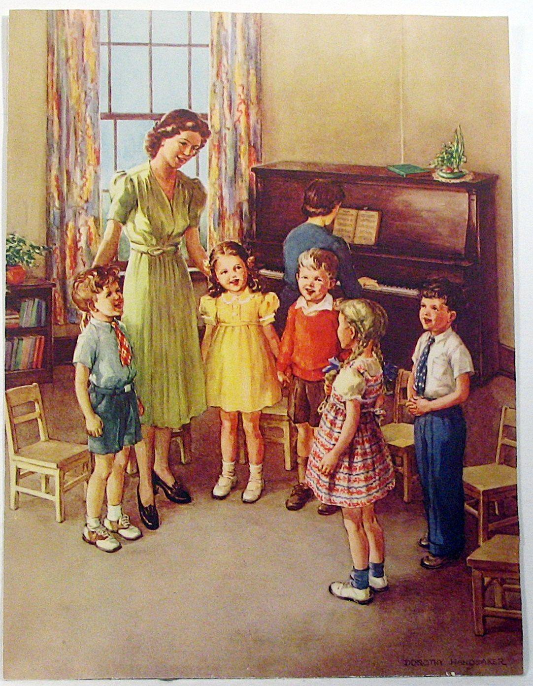Children Singing At School Color Print 1946 Christmas