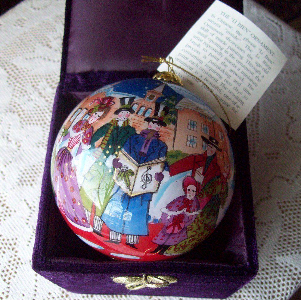 Li Bien Ornament Chinese Inside Painting Glass Ball Pier 1 Carolers