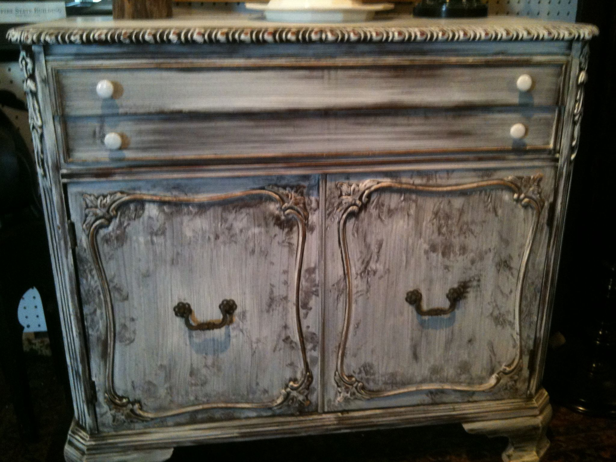 "Hand Painted  ""Etched Look"" Buffet"