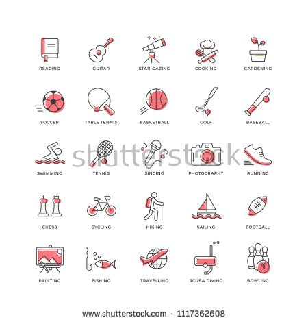 Set of 25 modern and colorful flat line icons with pink