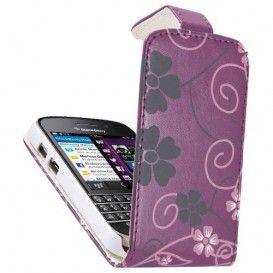 BlackBerry Q10 Purple Flip Case - Pink & Grey Floral