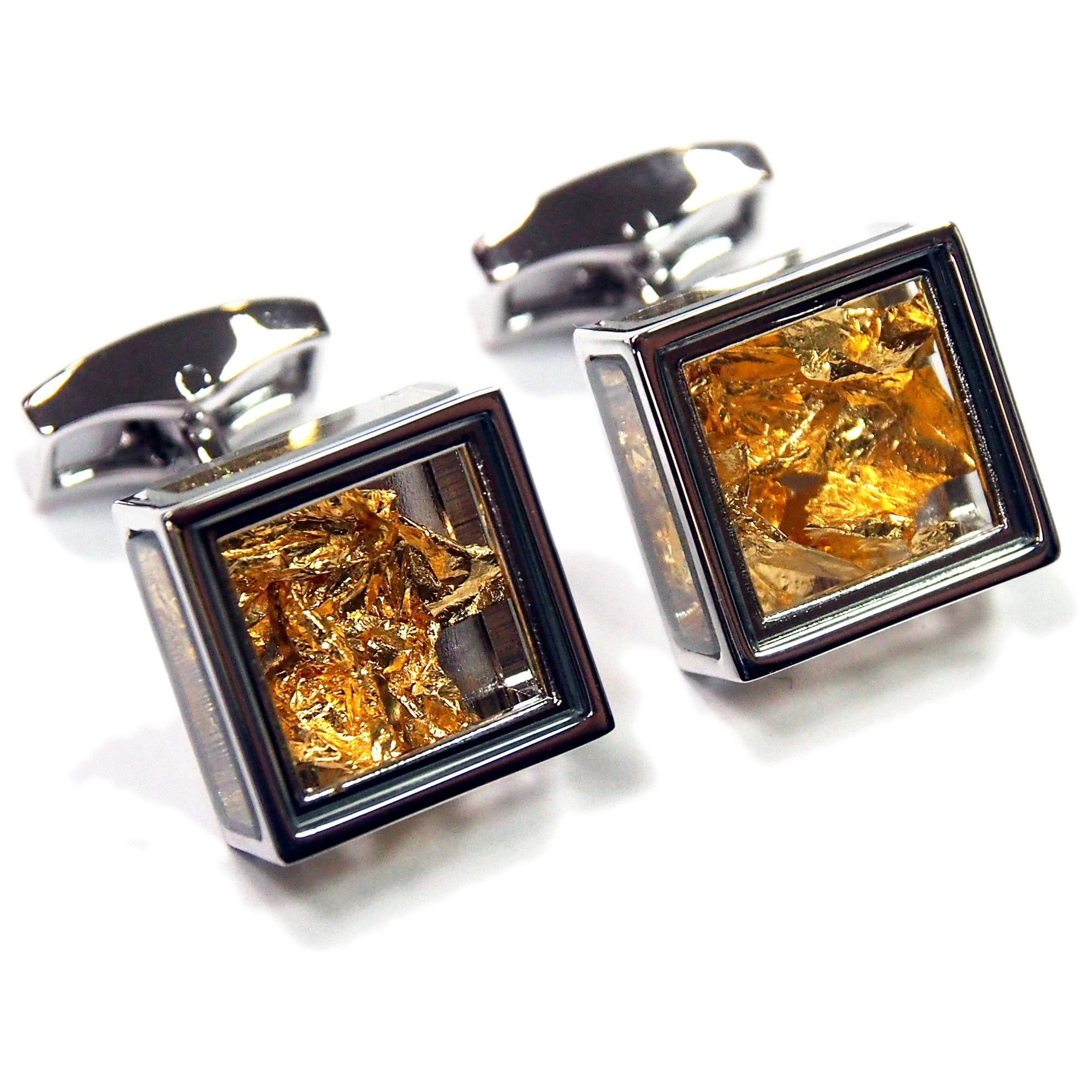 Tateossian Cufflinks - Pandora's Box Gold Leaf - Made in the UK