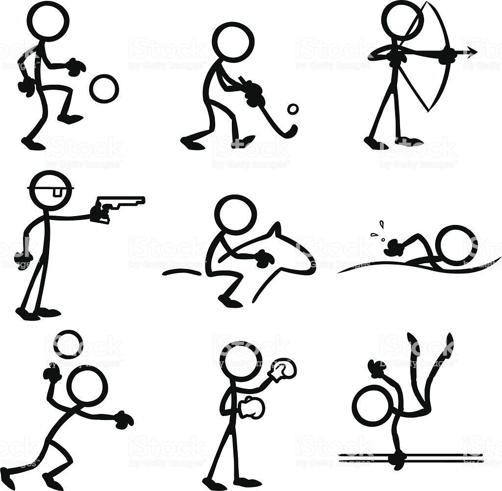 Stickfigures Doing A Variety Of Sporting Activities Arte De Palés Figura Con Palos Notas De Dibujo