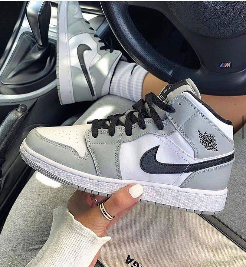 air jordan 1 mid light smoke grey 554724 092 in 2020 sneakers fashion jordan shoes girls nike air shoes sneakers fashion jordan shoes girls