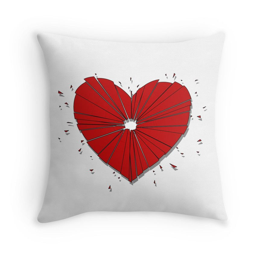 """""""Heartshot"""" Throw Pillow by Savousepate on Redbubble #throwpillow #pillow #homedecor #heartshot #brokenheart #heart #love #red #white"""
