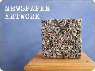 newspaper glued onto a canvas
