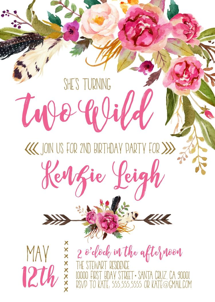 Second Birthday Invitation girl 2nd birthday invitation boho Two