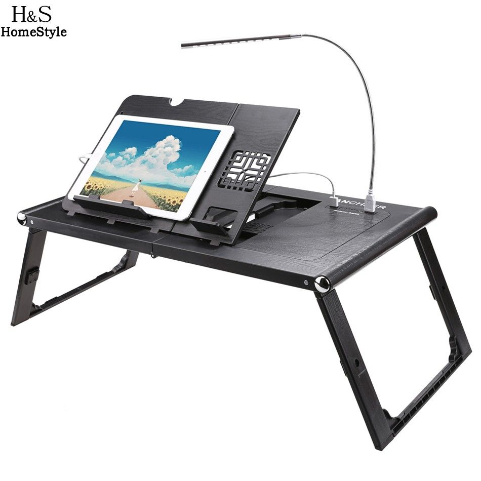 Black Adjustable Folding Laptop Table Lap Desk Bed Computer Tray Stand Portable
