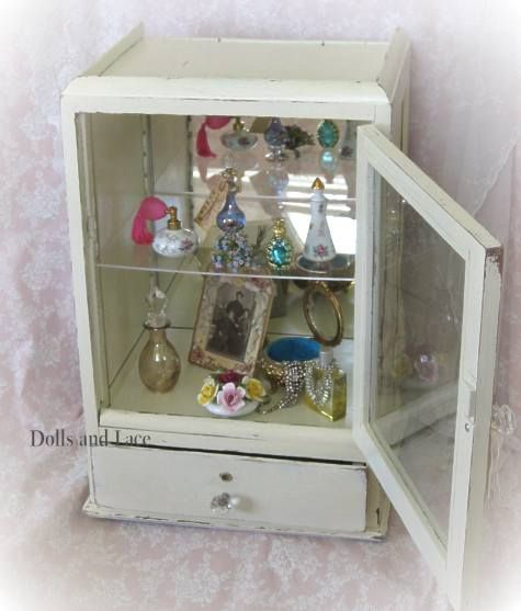 Antique Shabby Chic White Chippy Paint Display Case Or Cabinet With Glass  Front Perfect For Dolls, Perfume Bottles