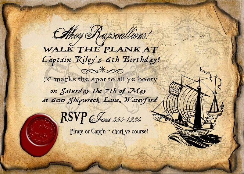 Pirate Birthday Party Invitation INSTANT DOWNLOAD Partially – Free Pirate Party Invitations