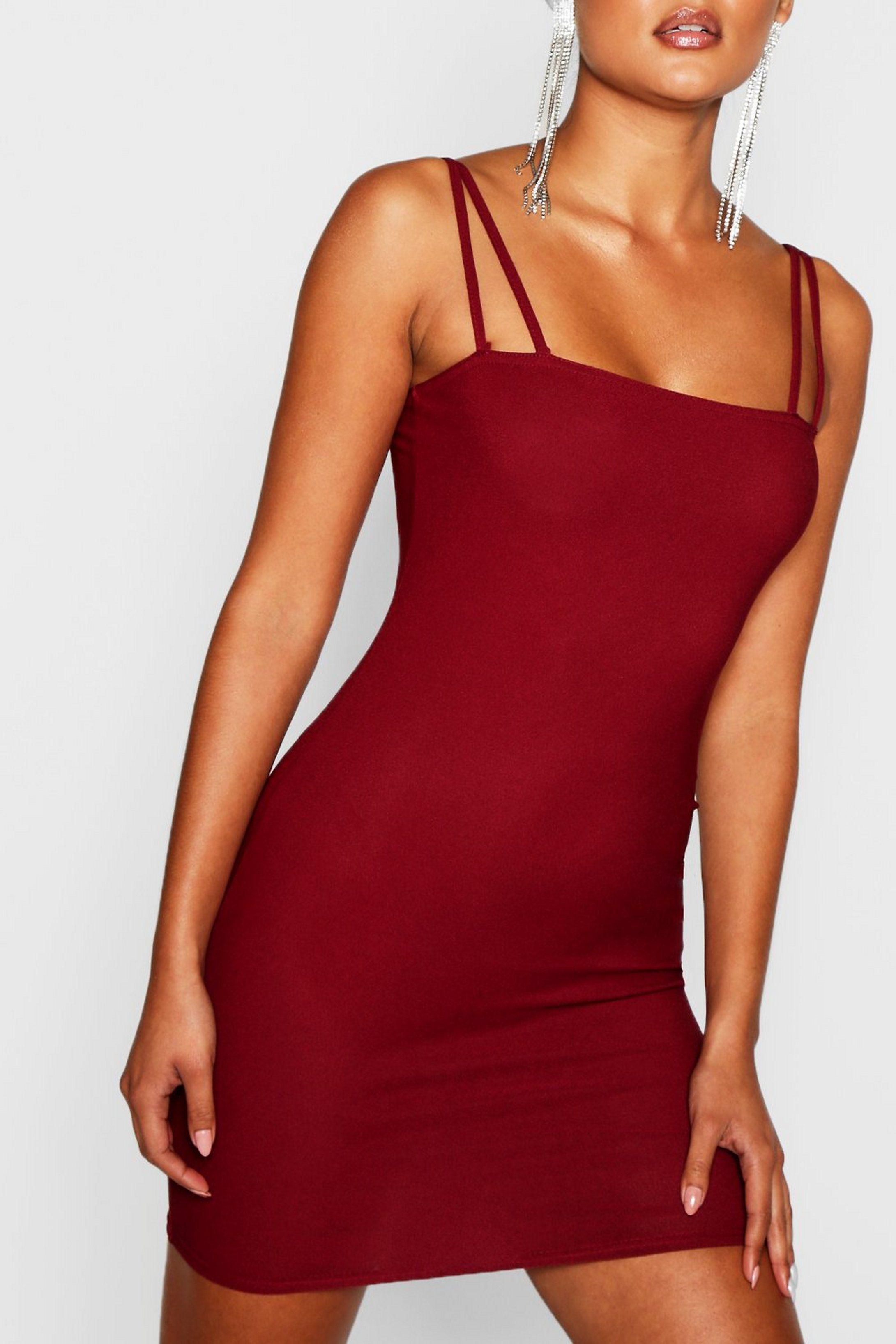 Square Neck Cross Strappy Bodycon Dress Boohoo Bodycon Fashion Bodycon Dress Dresses [ 3272 x 2181 Pixel ]