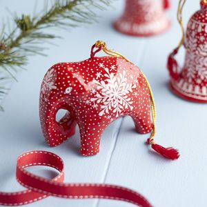 Handmade Red Elephant Bauble
