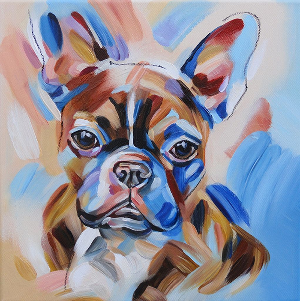 Portrait Of Jansen Brindle French Bulldog Brown Blue Red