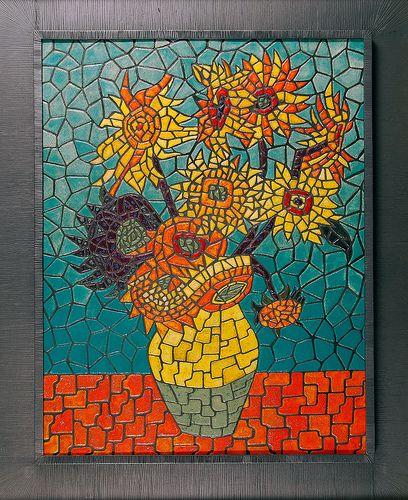 Sunflowers Of Van Gogh Mosaic Tile Art Sunflower Mosaic Mosaic Art