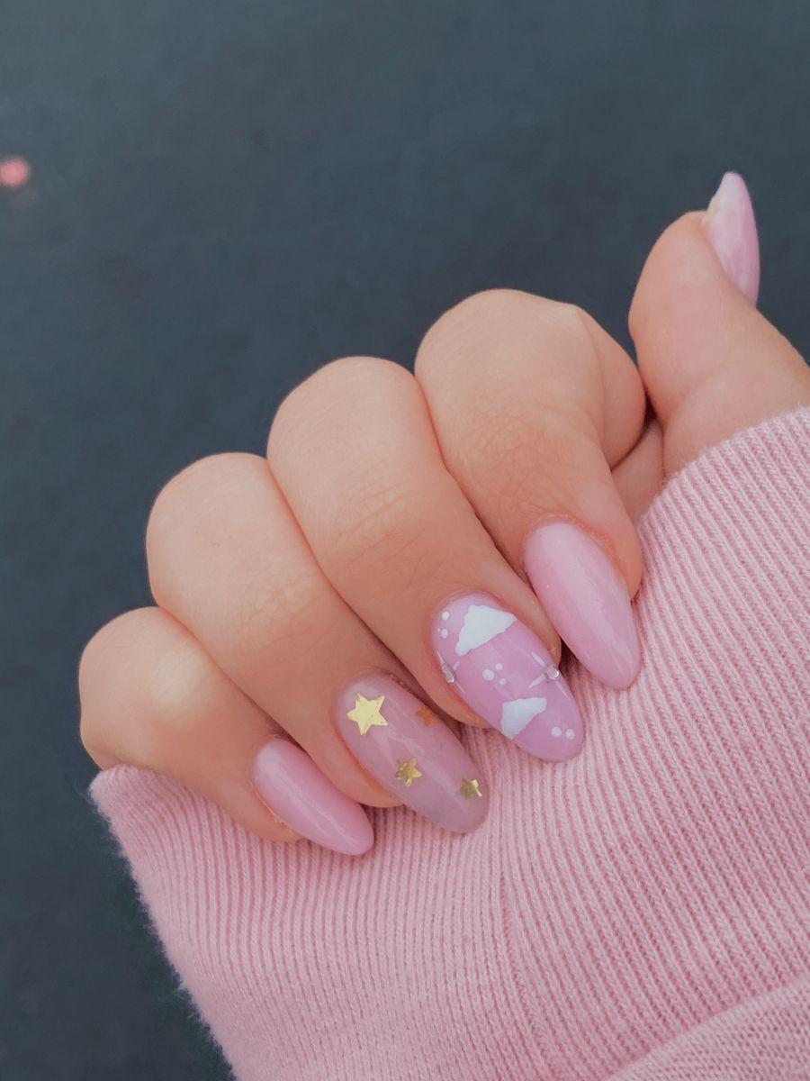 Pink & white almond nails